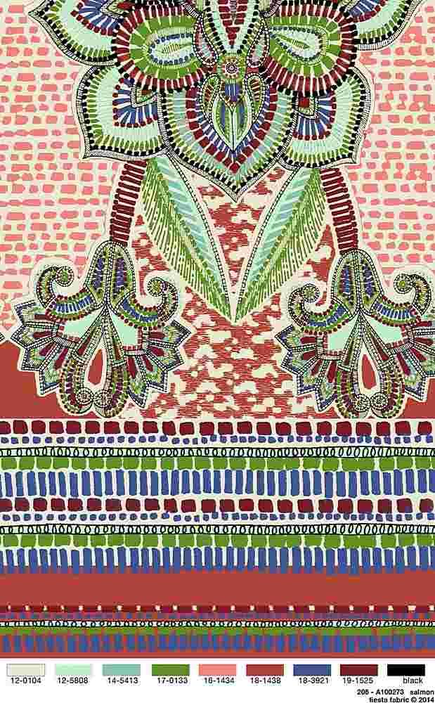 206-A100273-35 / SALMON / 100% Rayon Challis Print