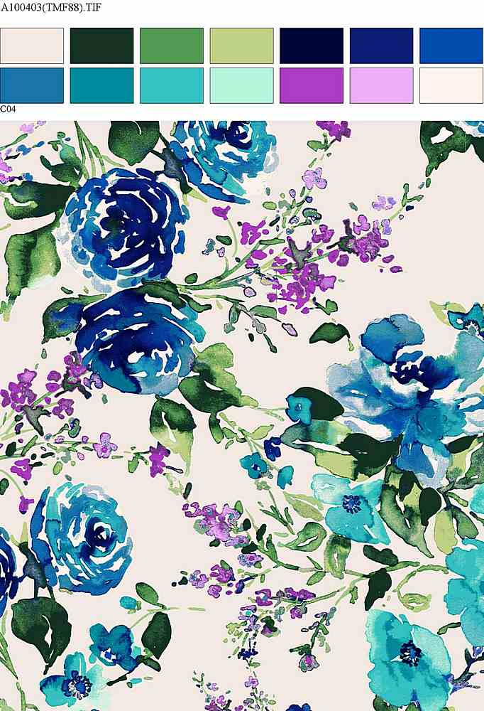 206-A100403-30 / MULTI BLUE / Rayon Spandex Jersey Print 180GSM