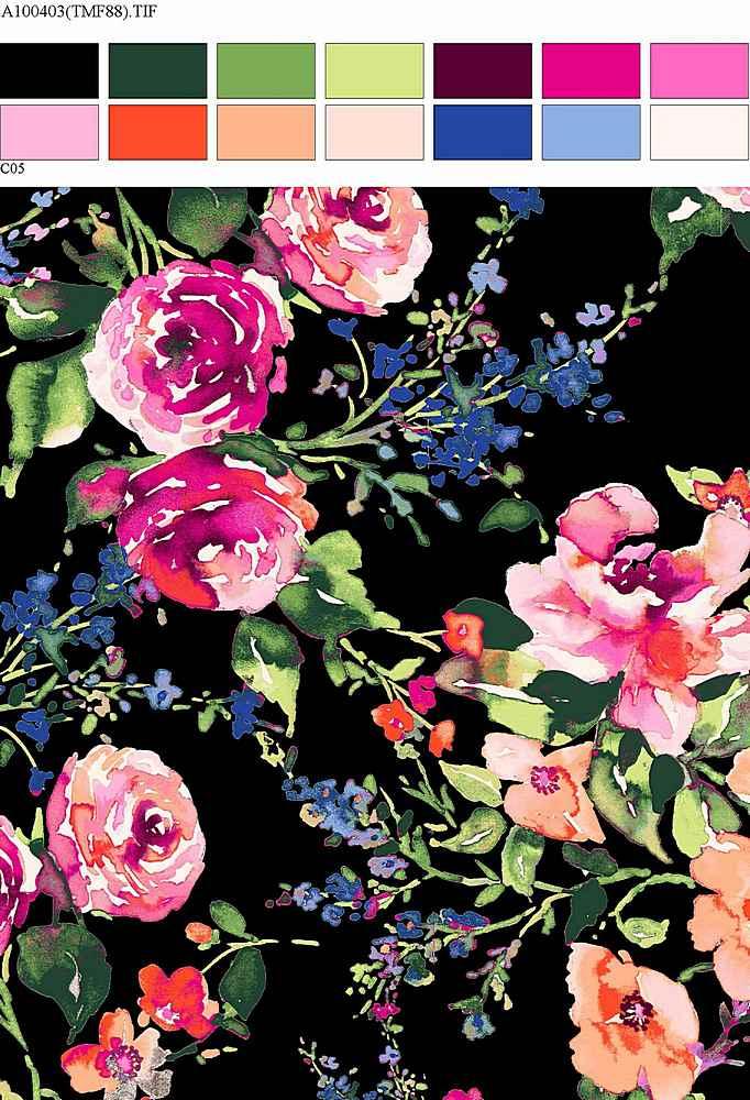 206-A100403-30 / BLACK / Rayon Spandex Jersey Print 180GSM