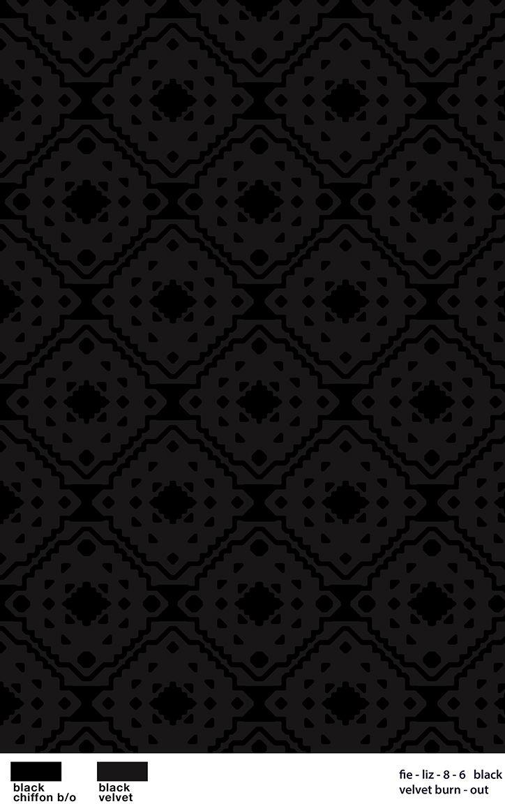 206-A100313-58 / BLACK / Nylon Rayon Velvet Burn-Out