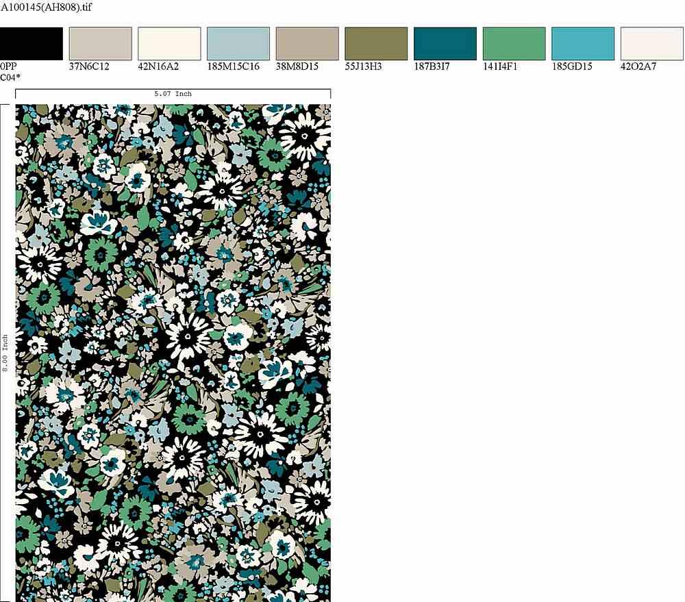 AH808-35 / BLACK/GREEN / 100% Rayon Challis Print