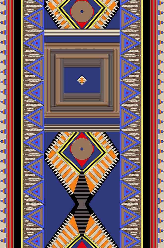 FIE-CW-5200-35 / BLUE / 100% Rayon Challis Print