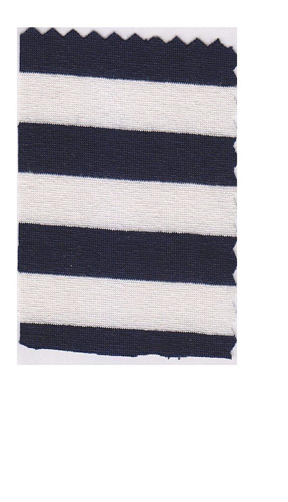 FIE-CW-5206-30 / NAVY/IVORY / Rayon Spandex Yarn Dye Stripe 200gsm