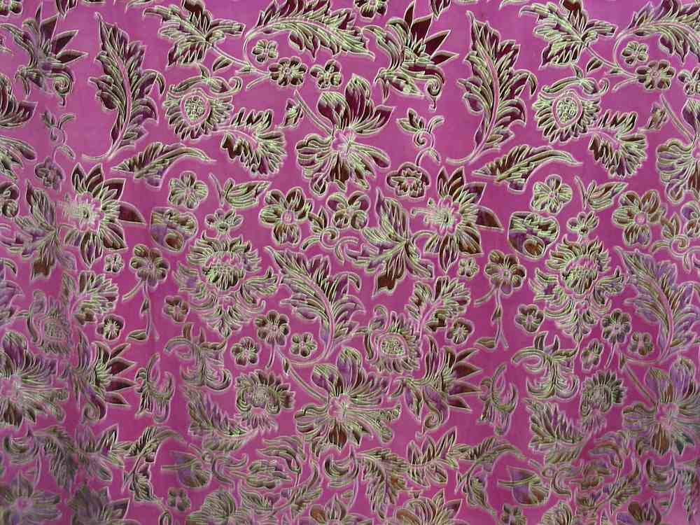 FIE-206-595-15 / MAGENTA / 100% Silk VELVET BURN-OUT WITH GOLD PIGMENT