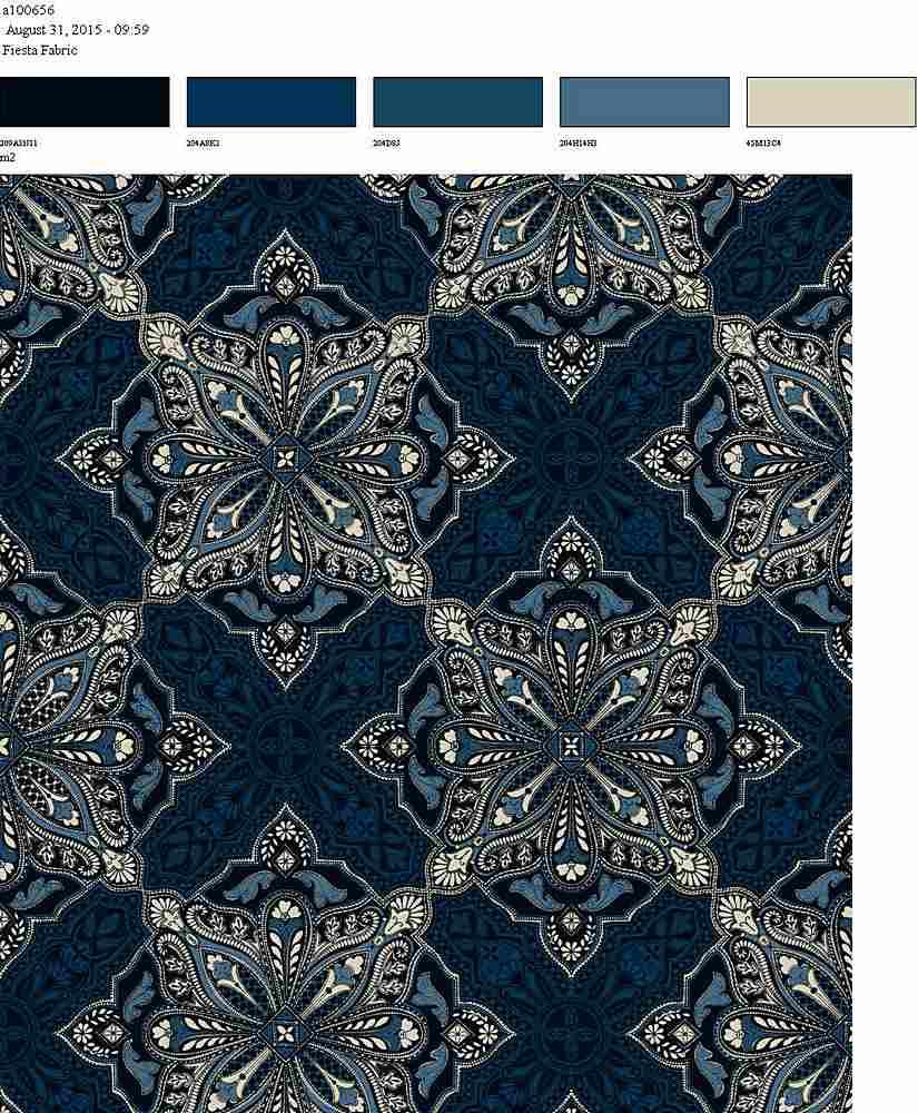 206-A100656-64 BLUE ETHNIC RAYON GAUZE PRINT