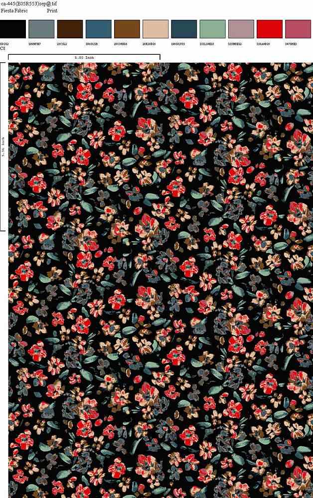 CA-445-64 / BLACK RED / 100% Rayon Gauze Print