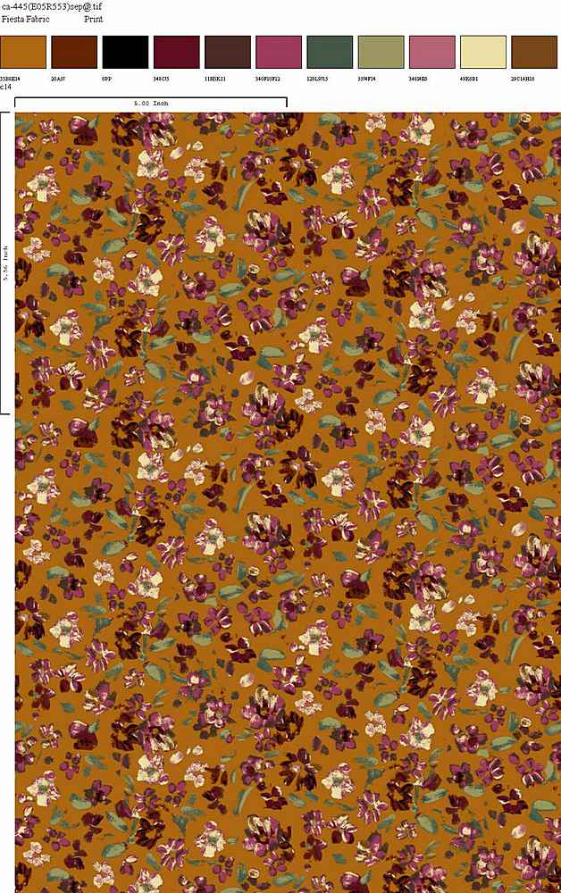 CA-445-64 / GOLD BERRY / 100% Rayon Gauze Print