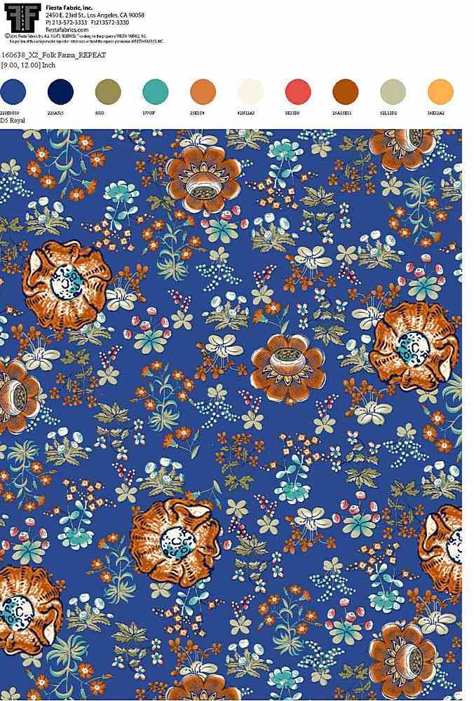 160638X2-64 / ROYAL / 100% Rayon Gauze Print