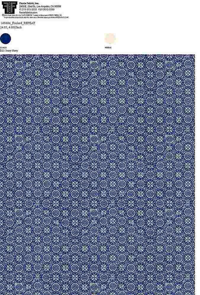 160606-35 / IVORY NAVY / 100% Rayon Challis Print