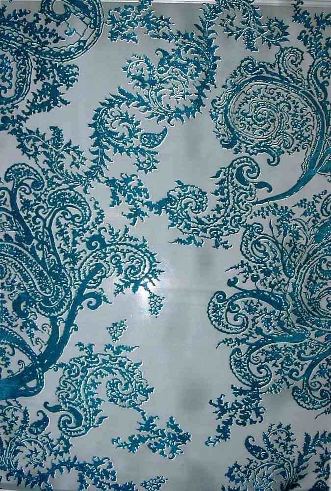 FIE-2006-164-13 / BLUE / SILK SATIN BURN-OUT