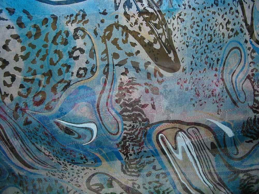 FIE-2006-180 / BLUE         / 5 SILK CHIFFON PRINT 6 M/M