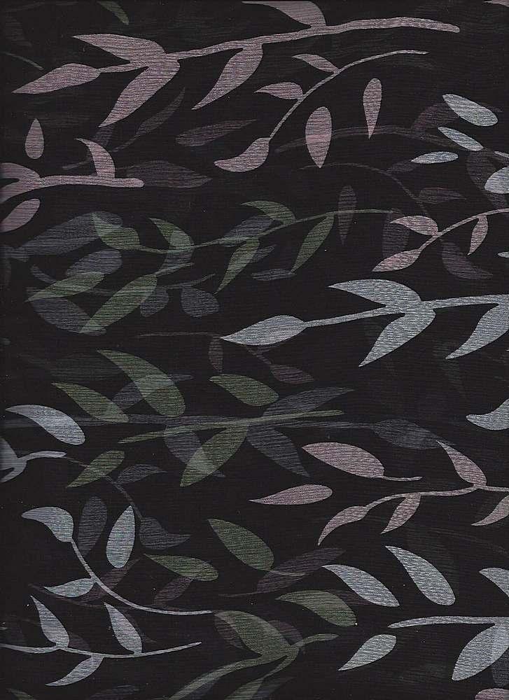 FIE-2006-199 / BLACK         / SILK CHIFFON PRINT 6 M/M