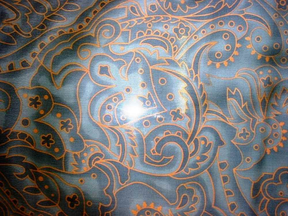 #597-1 / GREEN/GOLD                 / SILK CHIFFON PRINT 8 M/M 100% SILK