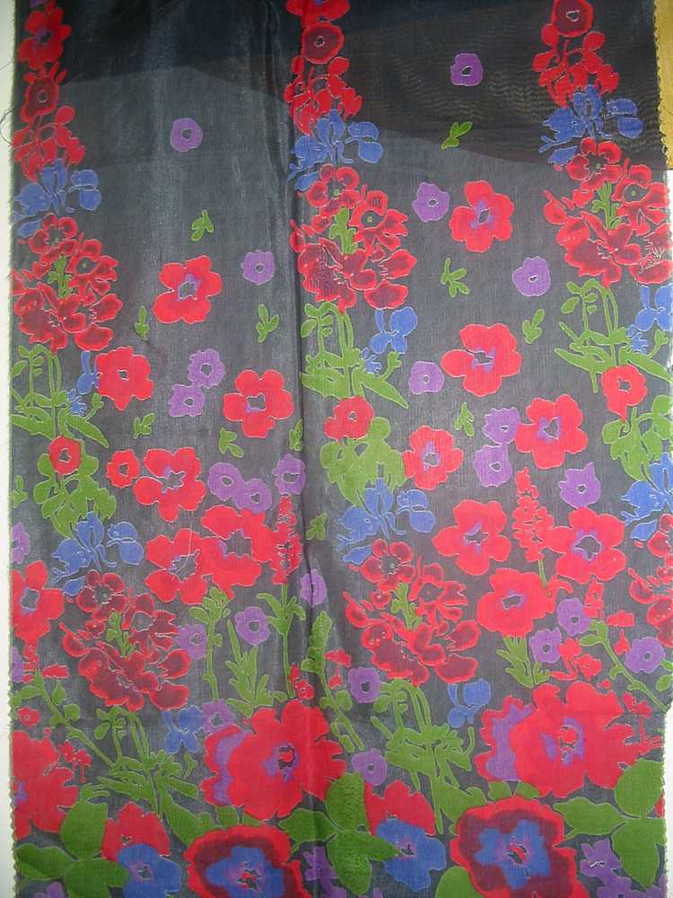 FIE-206-464 / BLACK         / SILK CHARMEUSE PRINT 16 M/M, 100% SILK