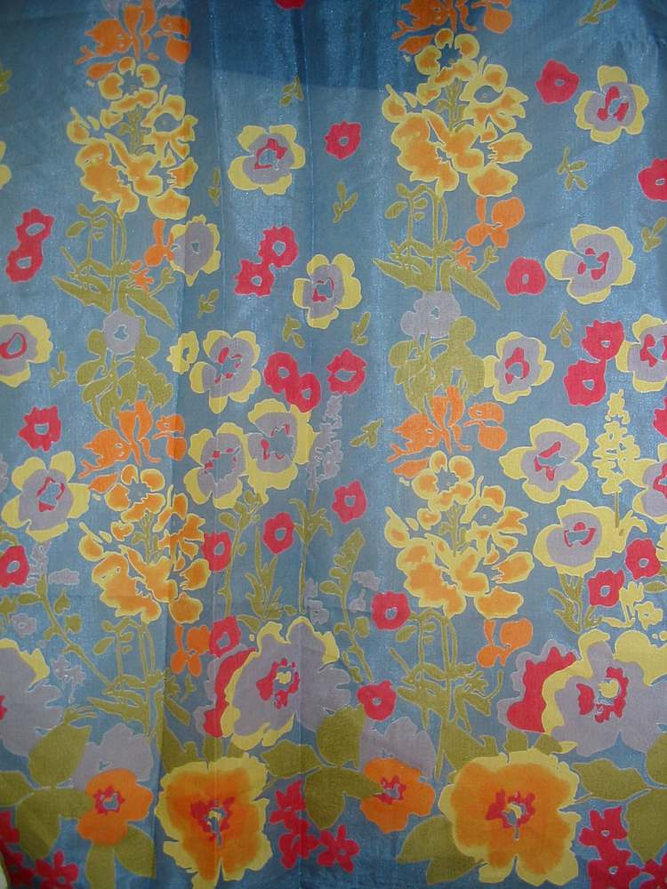FIE-206-464 / BLUE                 / SILK CHARMEUSE PRINT 16 M/M, 100% SILK
