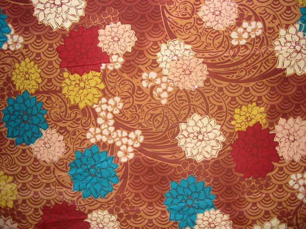 FIE-206-441-1 / BROWN                 / 5  SILK/COTTON VOILE PRINT 13.5 M/M, 48%S/ 52%C