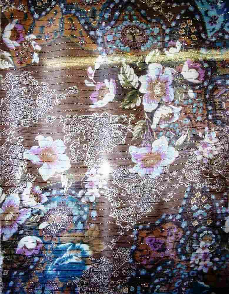 GP401 / BROWN         / SILK CHIFFON PRINT W/ LUREX 6 M/M
