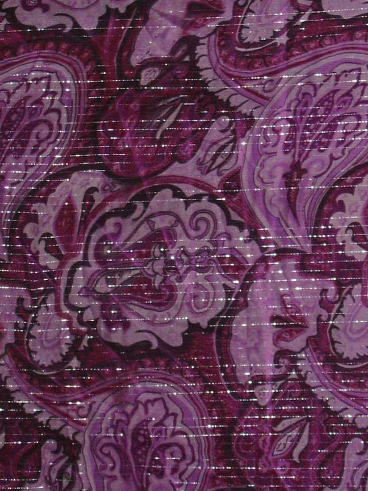 GP490/10152 / PURPLE                 / SILK CHIFFON PRINT W/ LUREX, 6 M/M 91%S/ 9%L
