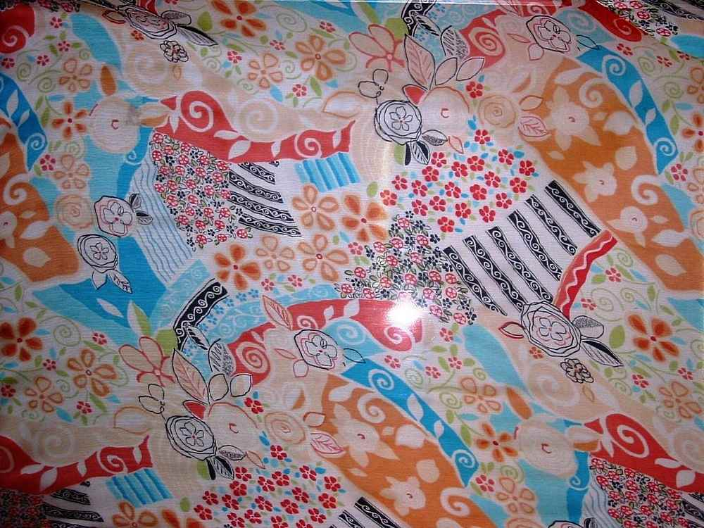 06HUA0011 / WHITE/ORANGE         / SILK CHIFFON PRINT 6 M/M, 100% SILK