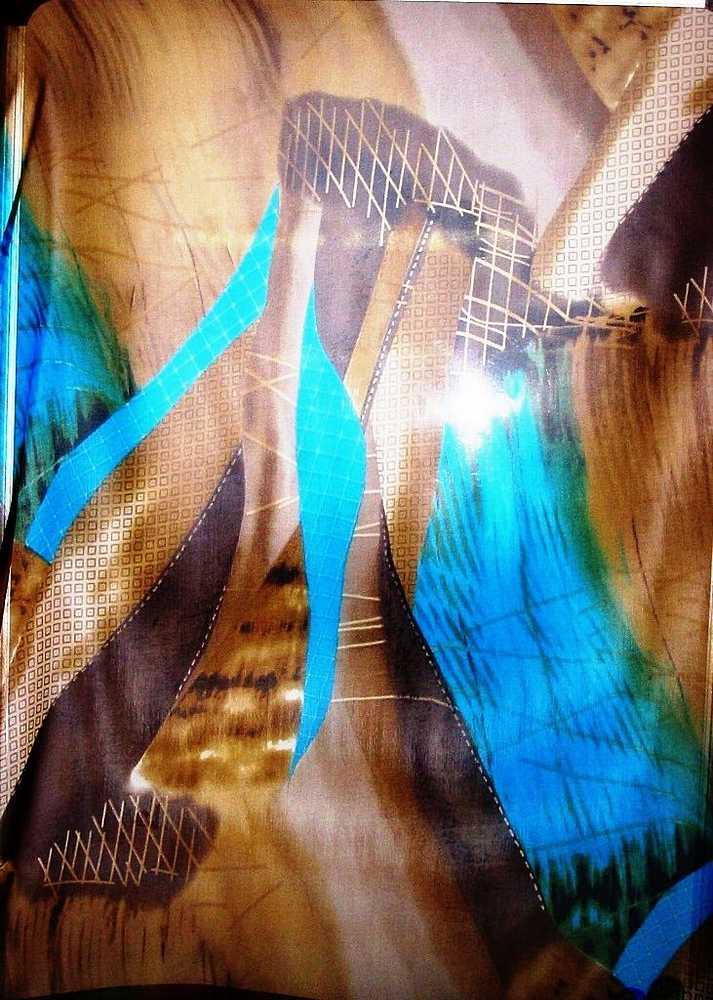 06XDBJ-05 / B. OLIVE/BLUE                 / 4  SILK CHIFFON PRINT 8 M/M, 100% SILK