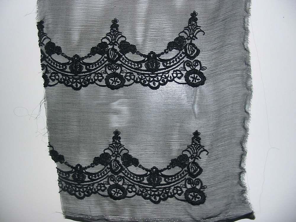 728 / BLACK                 / 100% Silk CHIFFON EMBROIDERY