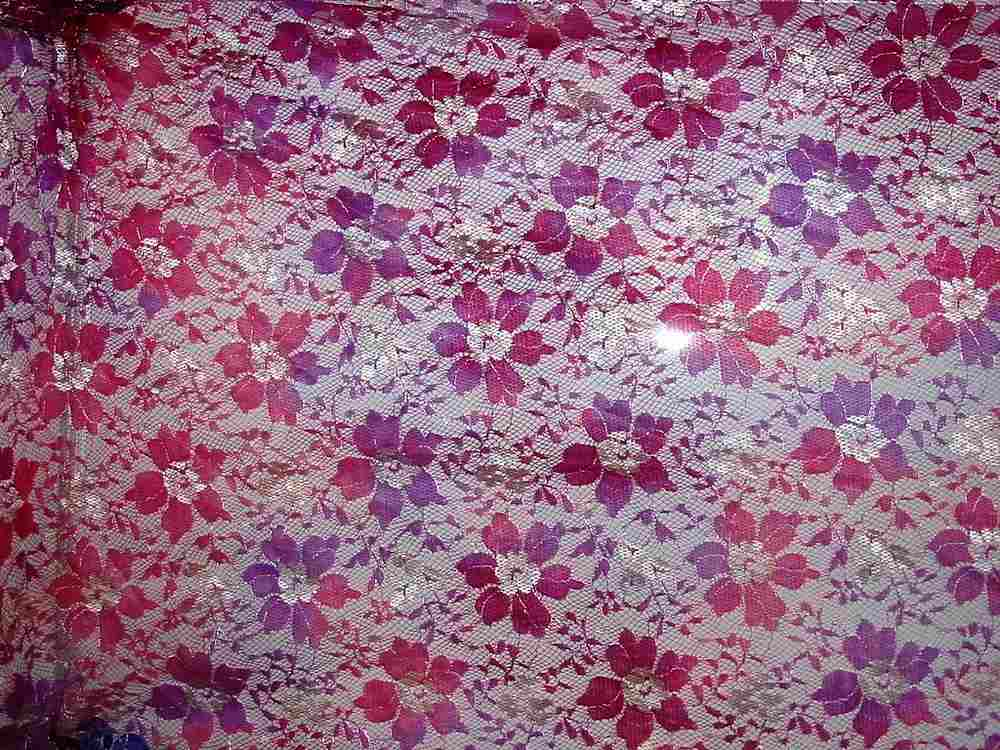 HBE 6196 / # 3 FUSCHIA                     / TWO TONE LACE, 80% NYLON/ 20% RAYON