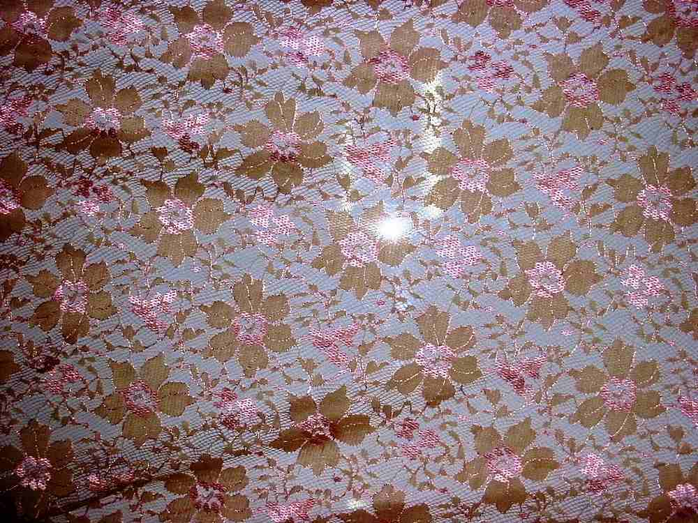 HBE 6193 / BEIGE/PINK         / TWO TONE LACE, 80% NYLON, 20% RAYON