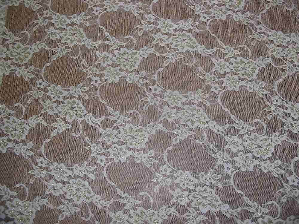 #42020-1 / IVORY/GOLD         / STRETCH LACE W/ LUREX, 82% NYLON/ 10% LUREX/ 8% SPA