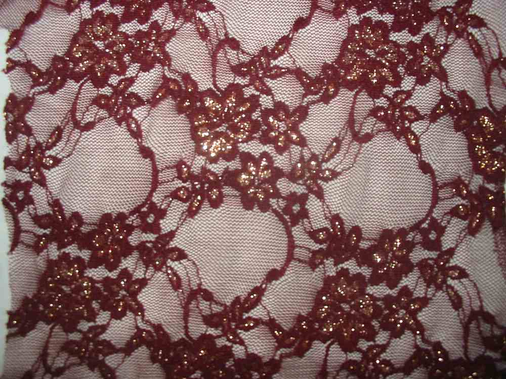 #42020-1 / BURGANDY/GOLD         / STRETCH LACE W/ LUREX, 82% NYLON/ 10% LUREX/ 8% SPA