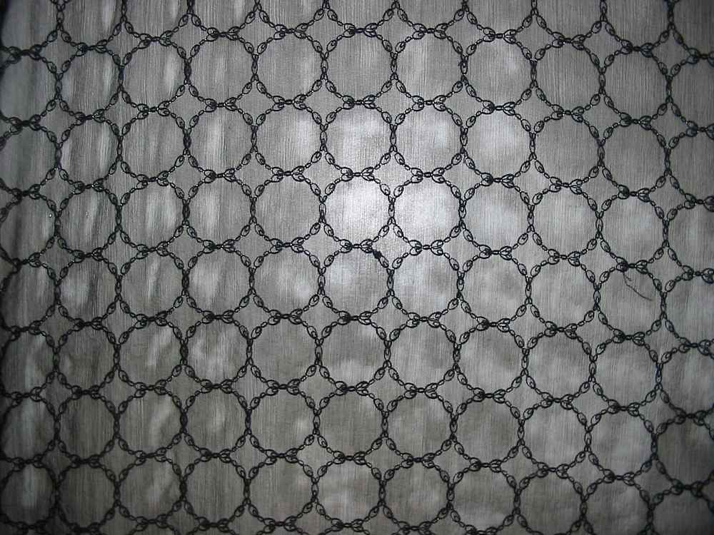 726 / BLACK         / Silk CRINKLE CHIFFON EMBROIDERY, 6MM