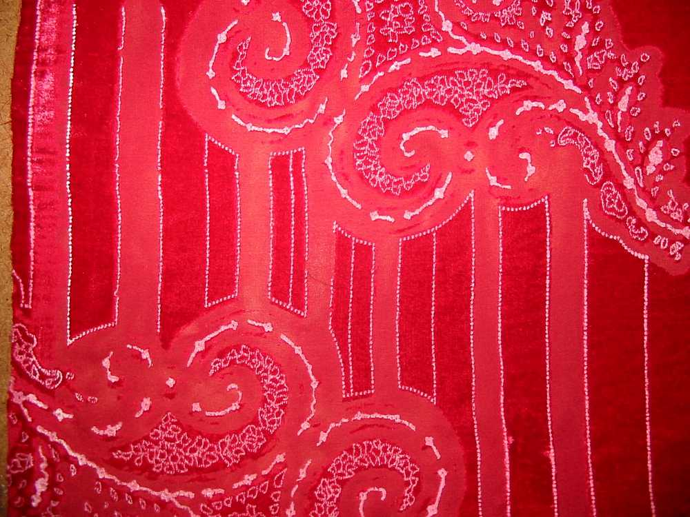 478-15 / RED         / SILK VELVET BURN OUT, 30% SILK/ 70% RAYON