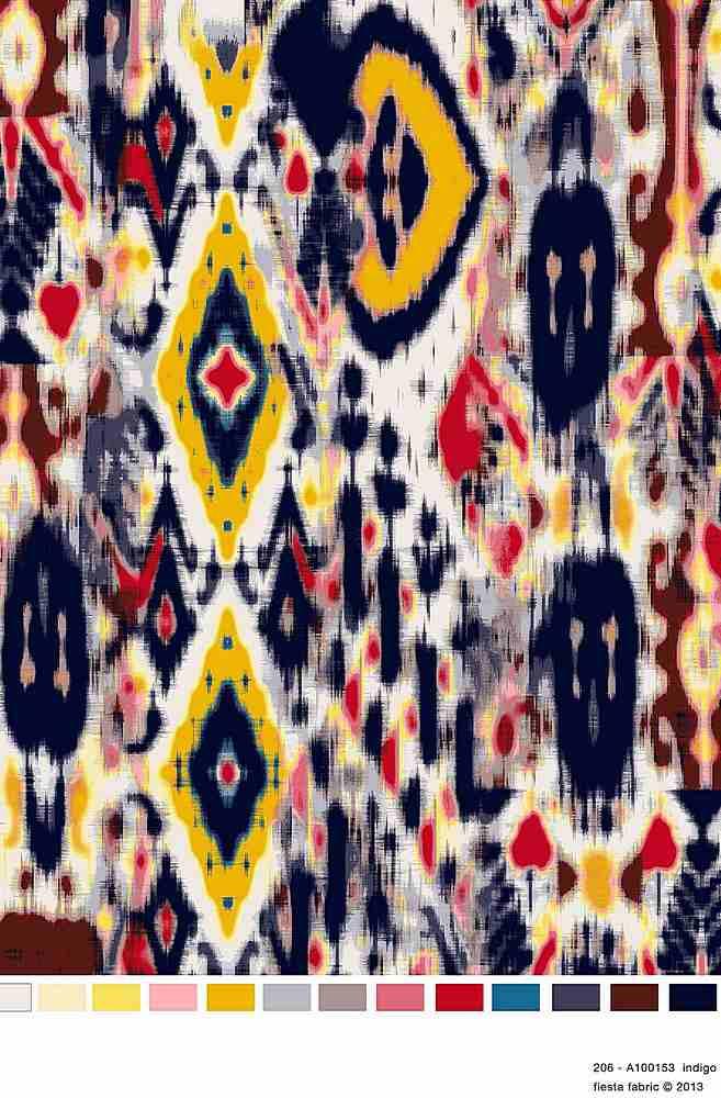206-A100153-35 / INDIGO / 100% Rayon Challis Print