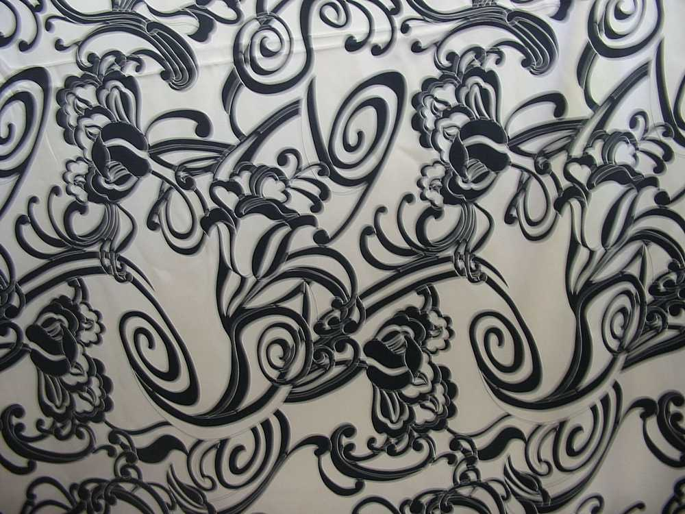 807-2 / BLACK/KHAKI         / 100% Silk CHARMEUSE PRINT