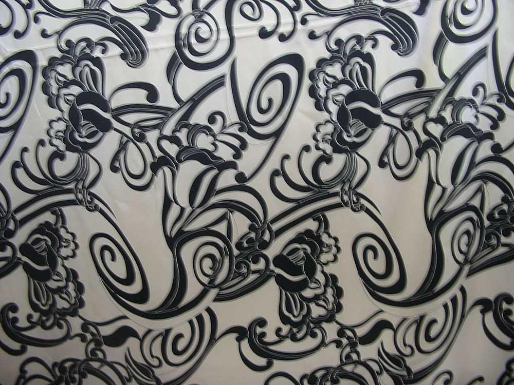807-2 / BLACK/KHAKI         / 100% Silk CHARMEUSE PRINT