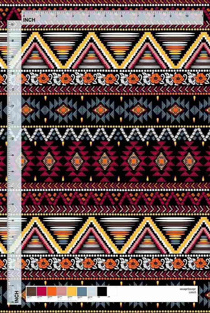 MAR-001-35 / MULTI-BLACK         / 100% Rayon Challis Print