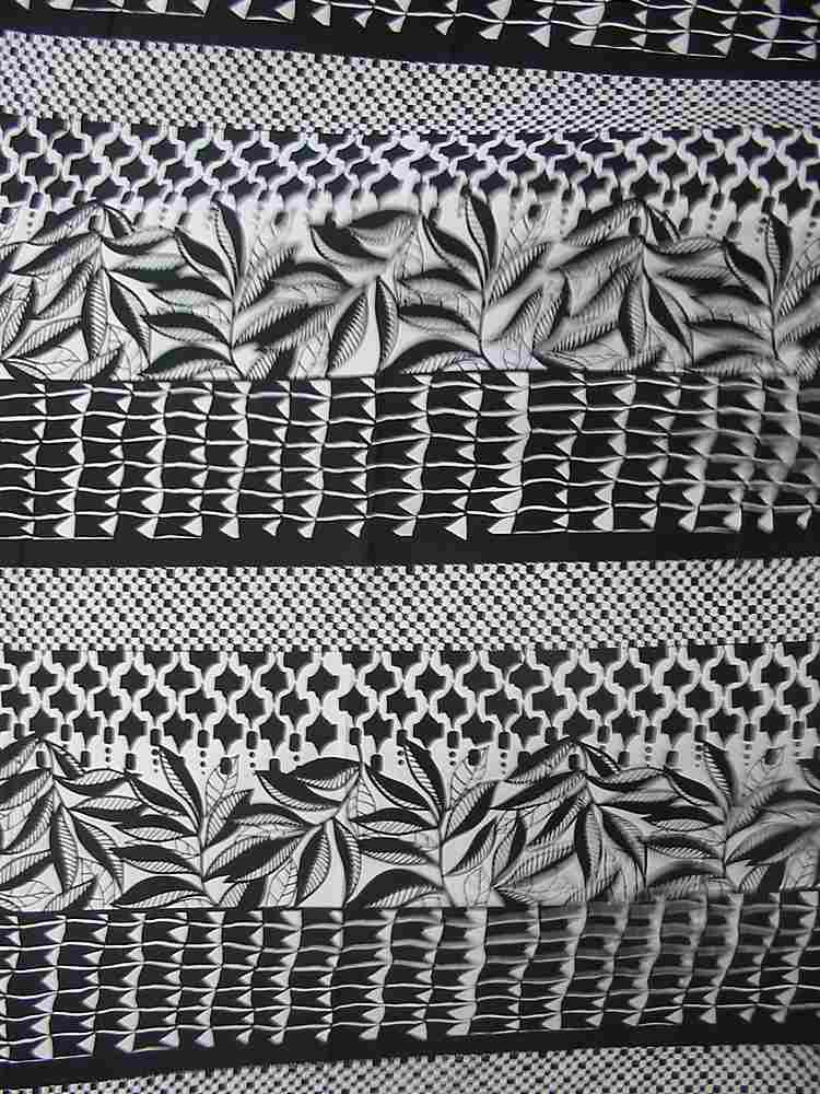 FIE-206-531-4 / BLACK/WHITE   / Silk/COTTON VOILE PRINT, 9MM