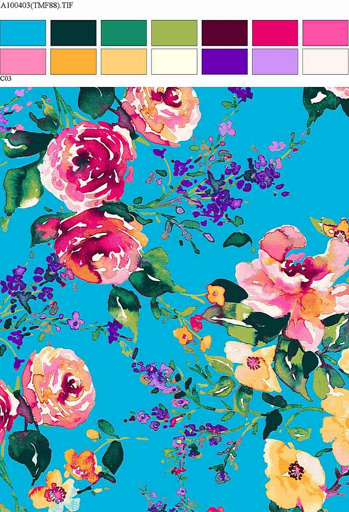 206-A100403-30 / BLUE         / Rayon Spandex Jersey Print 180GSM