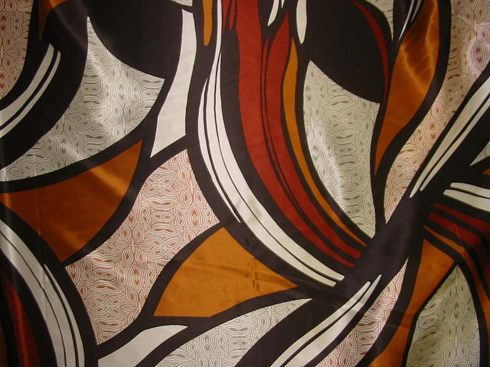 FIE-206-442 / 1 BROWN         / 100% Silk CHARMOUSE PRINT