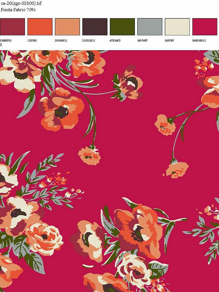 CA-020-35 / RED         / 100% Rayon Challis Print