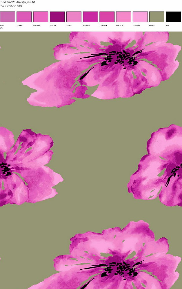 FIE-206-623-35 / OLIVE/PINK / 100% Rayon Challis Print