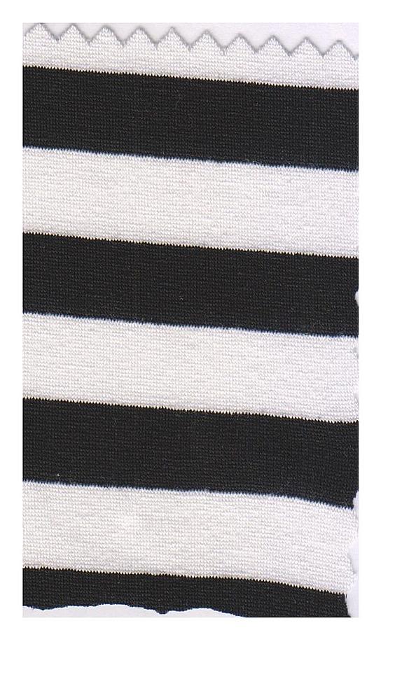FIE-CW-5206-30 / BLACK/IVORY         / Rayon Spandex Yarn Dye Stripe 200gsm