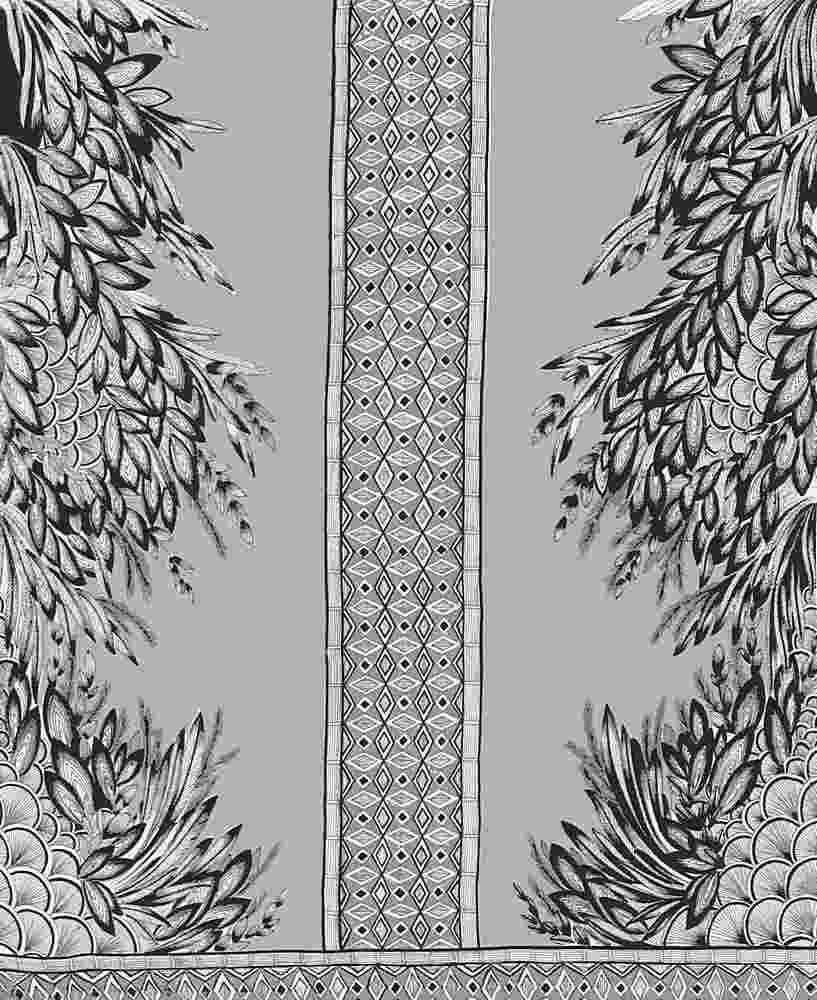 FIE-206-1017-35 / GREY         / 100% Rayon Challis Print