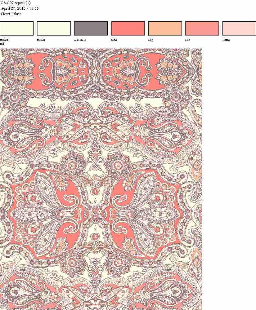 CA-007-30 / PFD/CORAL                 / Rayon Spandex Jersey Print