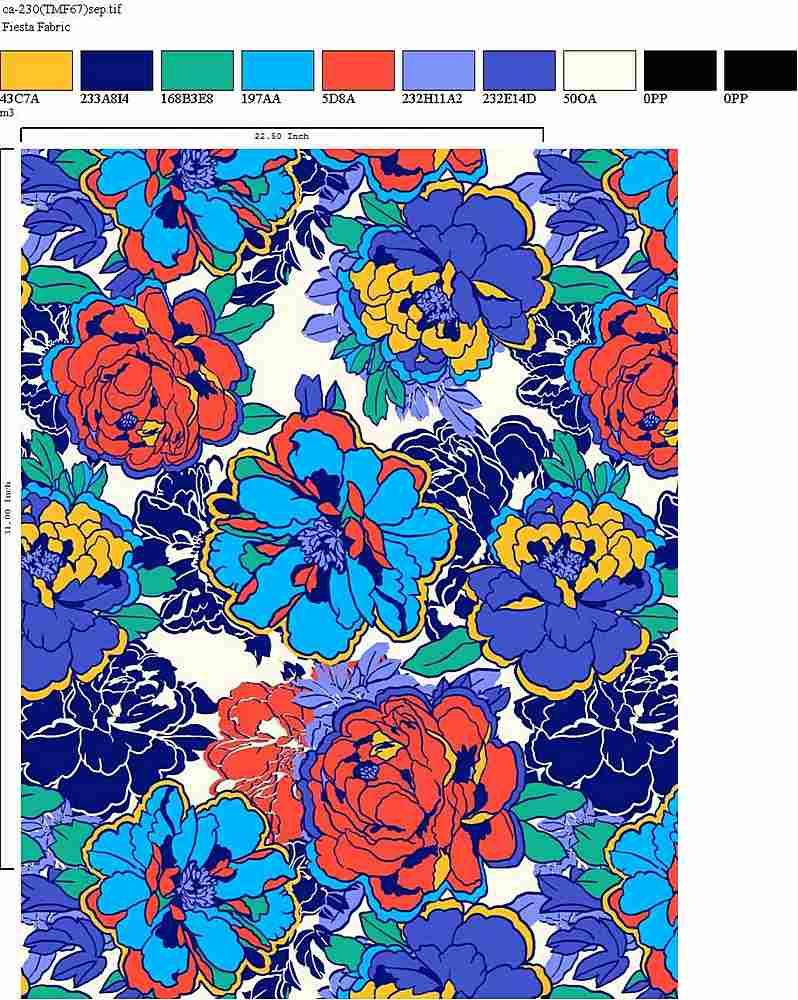 CA-230-30 / BLUE         / Rayon Spandex Jersey Print 180gsm
