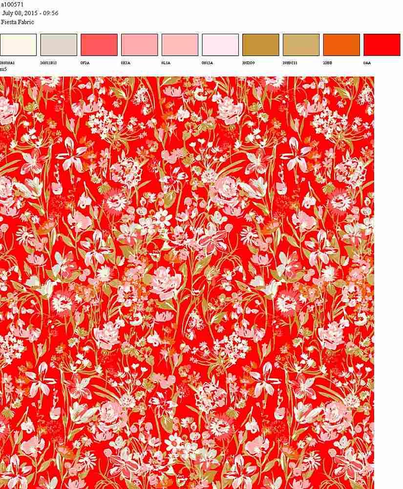 206-A100571-35 / RED/PINK         / 100% Rayon Challis Print