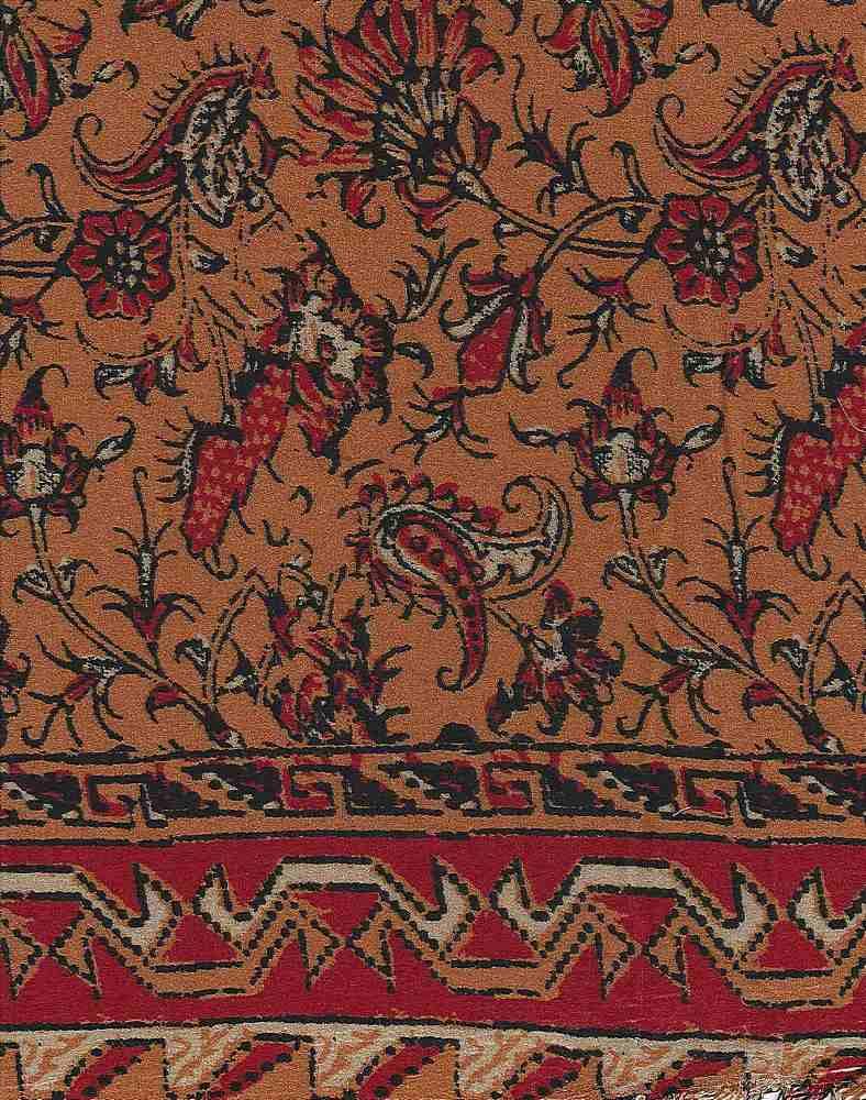 2419-64 / RUST         / 100% Rayon Gauze Double Border Print