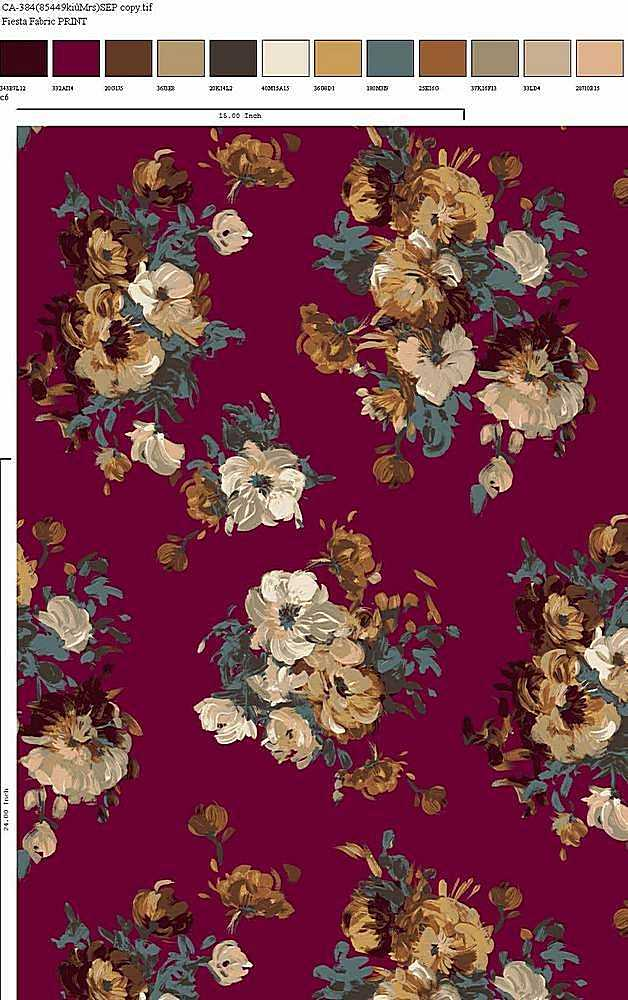CA-384-30 / MAROON MULTI         / Rayon Spandex Jersey Print 180gsm