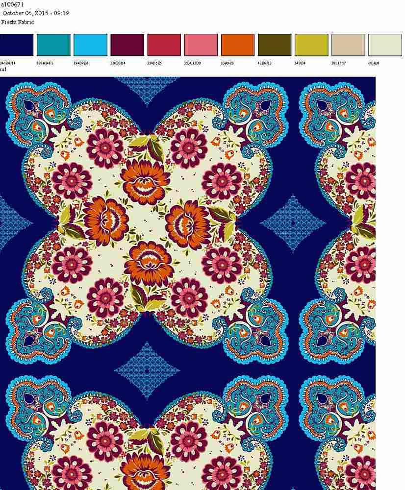 206-A100671-64 / NAVY CORAL                 / 100% Rayon Gauze Print