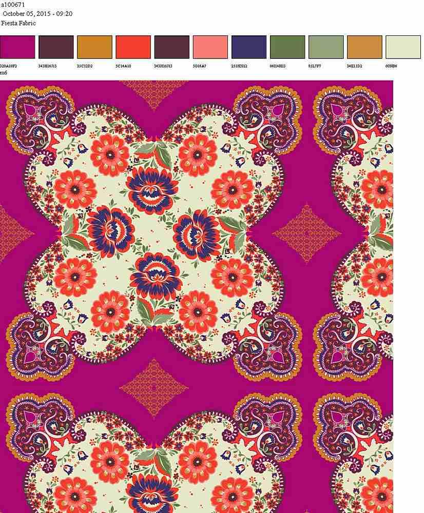 206-A100671-64 / FUSCHIA CORAL         / 100% Rayon Gauze Print