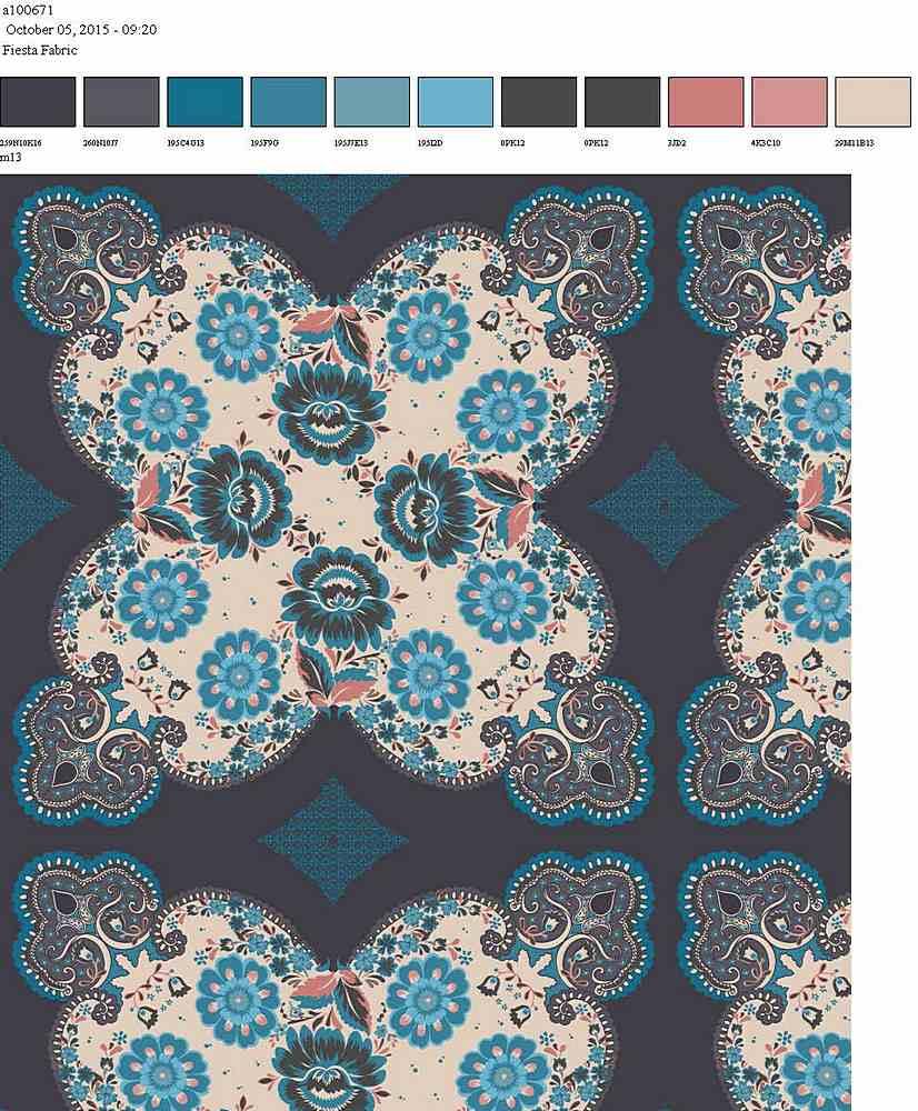 206-A100671-64 / TEAL MAUVE         / 100% Rayon Gauze Print